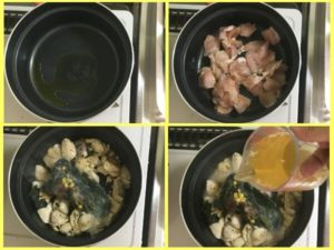 鶏肉を鍋で炒め、ほうれん草ミックスを投入してコンソメスープで煮る